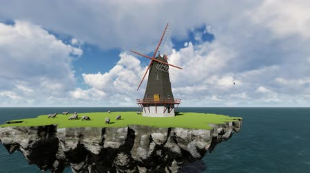 ambiental : Mill and sheep on the background of the sea