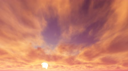 The movement of cumulus clouds against the backdrop of the sunset Stock Footage