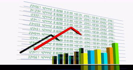 The growth of the red arrow on the background of stock quotes Stock Footage