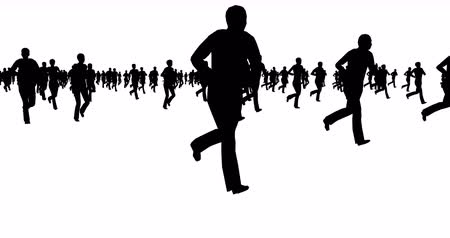 Silhouettes of people running on a white background.