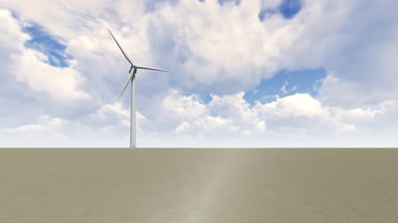 pegadas : Wind Turbine in desert Stock Footage