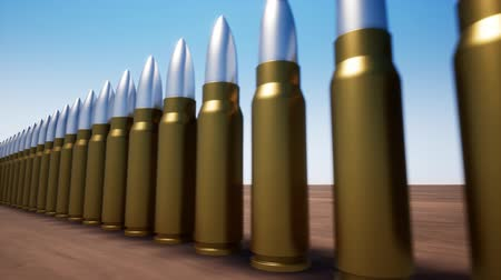 silahlar : A row of bullets from weapons Stok Video