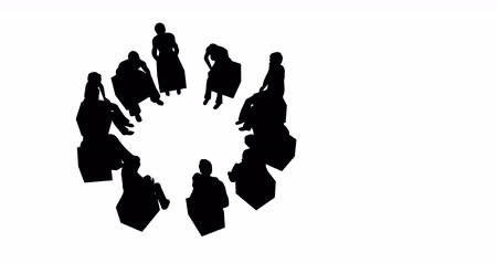 abeceda : Silhouettes of people in a circle on a white background