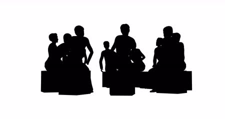 sorguç : Silhouettes of people in a circle on a white background