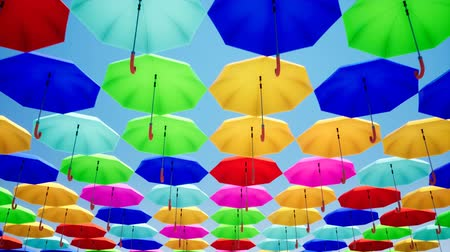 サンシェード : Colorful umbrellas hanging in the sky