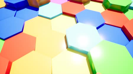 em camadas : Abstract color hexagon intro for video Stock Footage