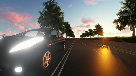 node : Car, dark sunset with Futuristic network and technology. Stock Footage