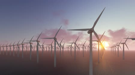 sustainable resources : Power generation by wind turbines Stock Footage