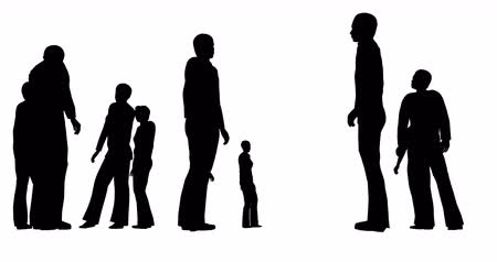 чувствовать : Silhouettes of people are standing on a white background