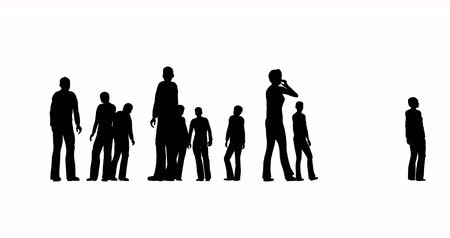 accomplissement : Silhouettes of people are standing on a white background