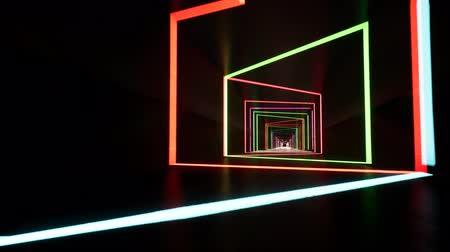 narożnik : Fluorescent ultraviolet light, glowing neon lines, moving forward inside tunnel, blue pink spectrum, modern colorful illumination