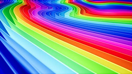 narożnik : 3D animation of rows and rows of colorful stripes in a rainbow in a circular formation rippling. Wideo