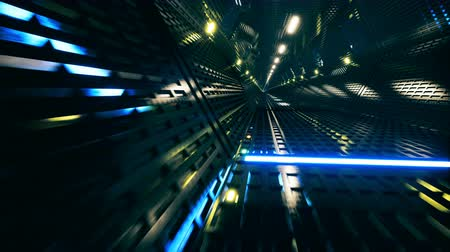 dyskoteka : 3d render, abstract background, fluorescent ultraviolet light, glowing neon lines, moving forward inside endless tunnel, blue pink spectrum, modern colorful illumination Wideo