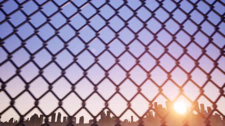 farpado : Metal wire mesh against a blue sky Stock Footage