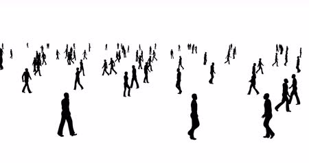 bankers : A crowd of people silhouettes are walking on a white background