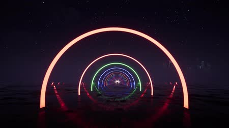 instalações : 3d render, abstract background fluorescent ultraviolet light, glowing neon lines, moving forward inside endless tunnel, blue pink spectrum, modern colorful illumination Vídeos