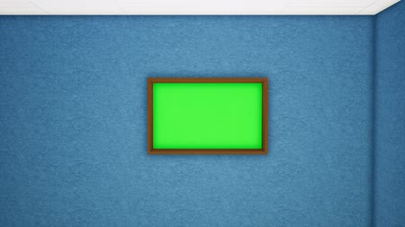 dark green : Photo frame hanging on wooden wall, horizontal. Tracking.