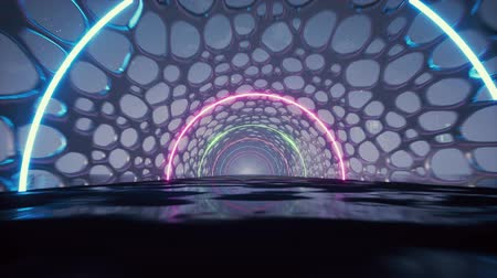 equalizador : 3d render, abstract background, fluorescent ultraviolet light, glowing neon lines, moving forward inside tunnel, blue pink spectrum, modern colorful illumination
