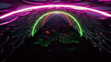 obdélníkový : 3d render, abstract background, fluorescent ultraviolet light, glowing neon lines, moving forward inside tunnel, blue pink spectrum, modern colorful illumination
