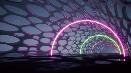 lâmpada elétrica : 3d render, abstract background, fluorescent ultraviolet light, glowing neon lines, moving forward inside tunnel, blue pink spectrum, modern colorful illumination