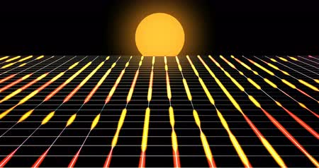 iluminado pelo sol : Retro futuristic background footage 1980s style . Digital landscape in a cyber world. Able to loop