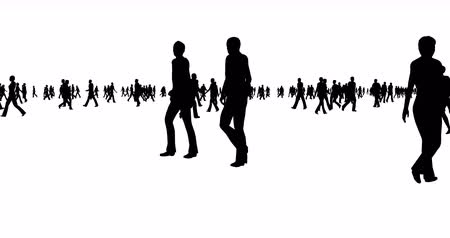establishment : Silhouettes of crowds of people on a white