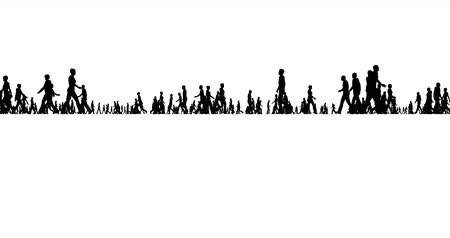 izrael : Silhouettes of crowds of people on a white