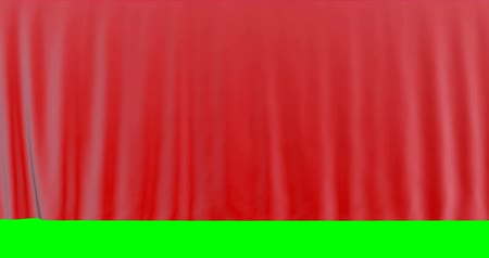 brodway : Cloth silk red Curtain on green screen.