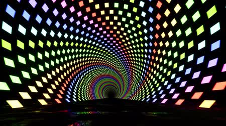 night club : tunnel a spirale al neon con ultravioletti Filmati Stock