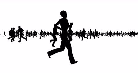 cortiça : Silhouette of people running on white
