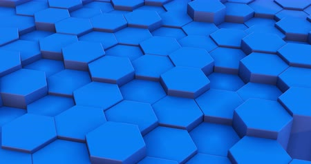 grzebień : Geometric blue hexagon blocks 3d motion footage