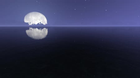 lunar surface : Night sea with moon realistic footage
