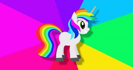 stripboek : Fantasy unicorn on rainbow spinning background footage