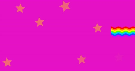 pink background : Pixel style unicorn with rainbow footage Stock Footage