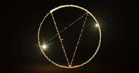 stardust : Light glare drawing pentagram symbol footage