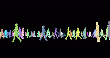 metáfora : People multicolor silhouettes walking 3d footage Vídeos