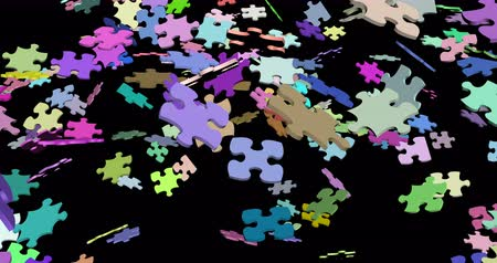 monteren : Jigsaw puzzle assembling 3d footage Stockvideo