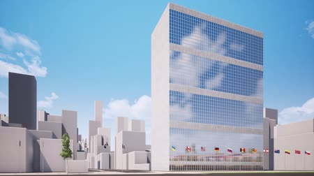 leden : UN headquarters in New York seamless footage Stockvideo