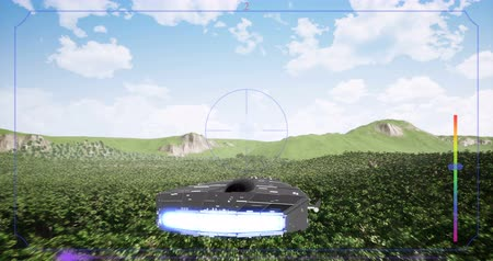 nave espacial : Alien spaceship flying above forest realistic animation