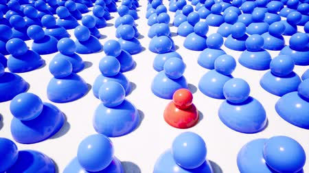 oposição : Blue figures surrounding single red one footage Vídeos