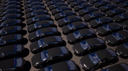 motorcar : Black cars standing in rows on parking lot seamless footage