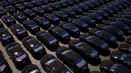 motorcar : Black cars on parking realistic animation Stock Footage