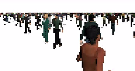 camera move : Pixel art walking men and women animation