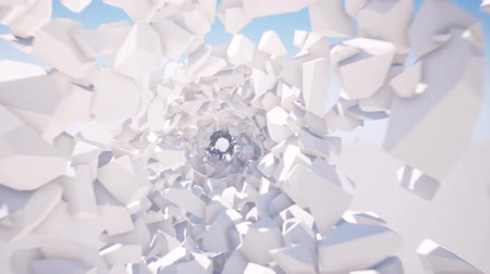 портал : White geometric blocks tunnel 3d seamless footage