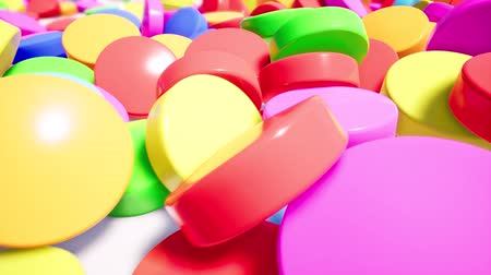 vitamin : Colorful pills stacked on white surface 3d animation