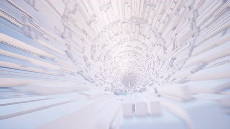 hi fi : Moving inside white portal looped animation Stock Footage
