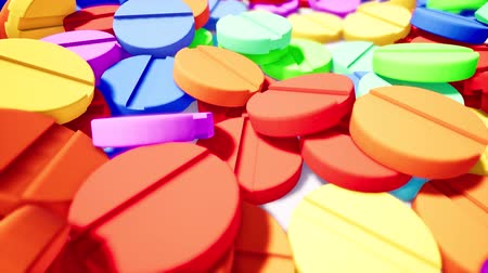 suplemento : Colorful vitamins on white surface 3d animation