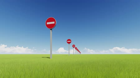 girmek : Do not enter multiple road stop signs in green field realistic animation