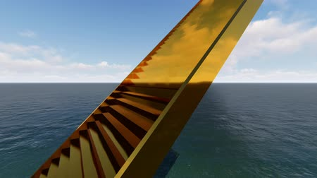 endless gold : Golden stairs in ocean realistic looped animation