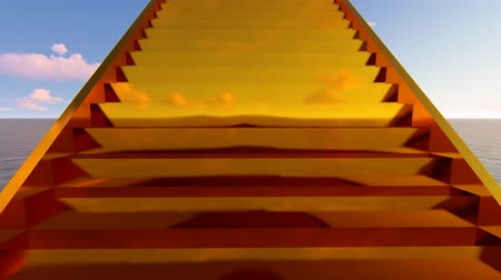 blue color : Endless golden staircase 3d looped animation